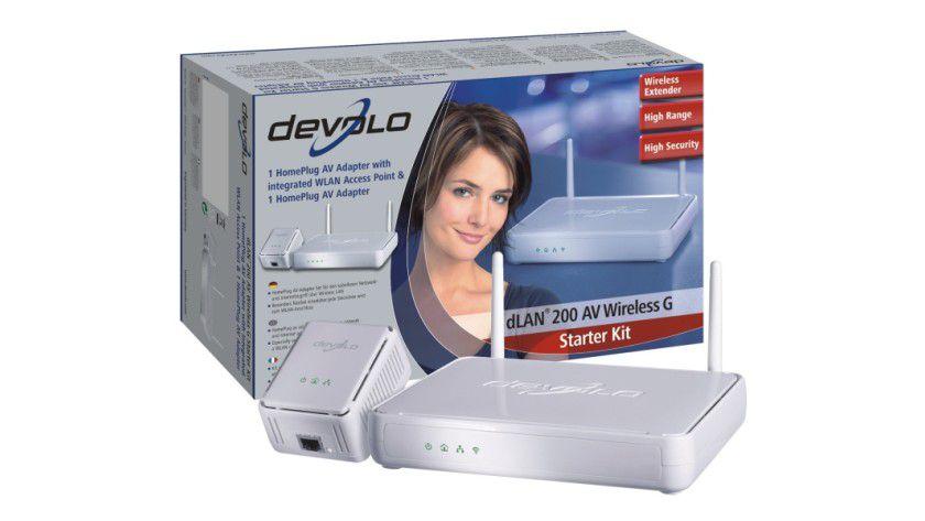 Kombigerät: Das dLAN 200AV Wireless G Starter Kit vereint WLAN- und HomePlug-Technologie in einem Gerät. (Quelle: Devolo)