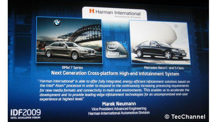 Atom inside: BMW und Mercedes realisieren ihre künftigen In-Car-Infotainment-Systeme mit Atom-basierenden Geräten von Harman.