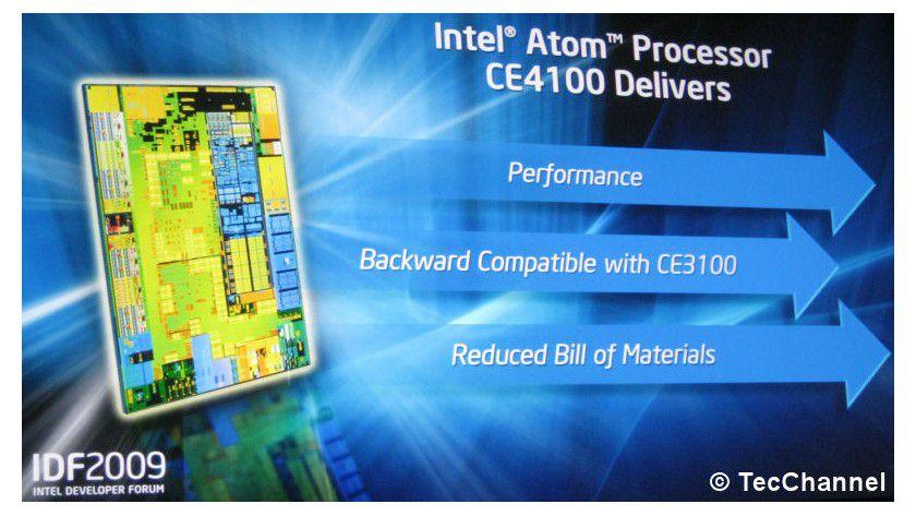 Media-Prozessor: Intels Atom CE4100 verfügt über ein SoC-Design und vereint einen Atom-Kern, Grafik, Speicher-Controller und Media-Decoder auf einem Siliziumplättchen.