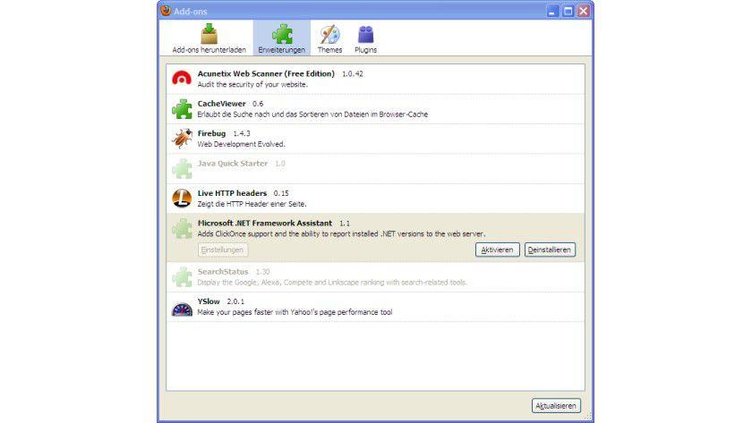 Zwischenzeitlich deaktiviert: Der Microsoft .NET Framework Assistant sorgte für Unruhe bei Mozilla.
