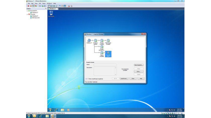 Mittelpunkt: Der Snapshot Manger bildet die zentrale Steuereinheit für VMware Workstation 7. (Quelle: VMware)
