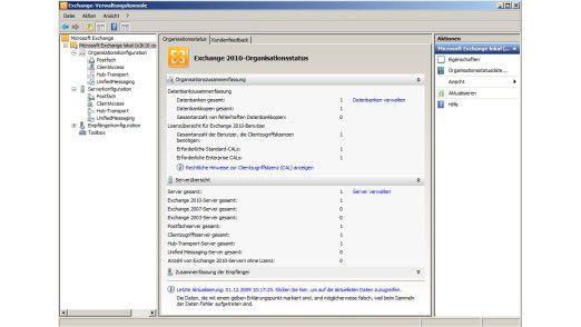 Übersichtlich: Exchange Server 2010 bietet eine neue und effizientere Verwaltungsoberfläche an.