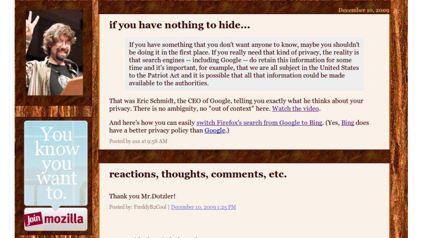 Besser Bing: Mozillas Asa Dotzler rät von Google aus Datenschutzgründen ab.