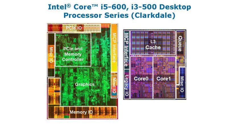Multi-Chip-Package: Der Core i3-530 beherbergt zwei Siliziumplättchen. Die CPU mit Dual-Core-Technologie wird mit 32 nm Strukturbreite gefertigt (im Bild rechts). Auf dem linken 45-nm-Plättchen befindet sich die Grafik-Engine sowie der Speicher-Controller. (Quelle: Intel)
