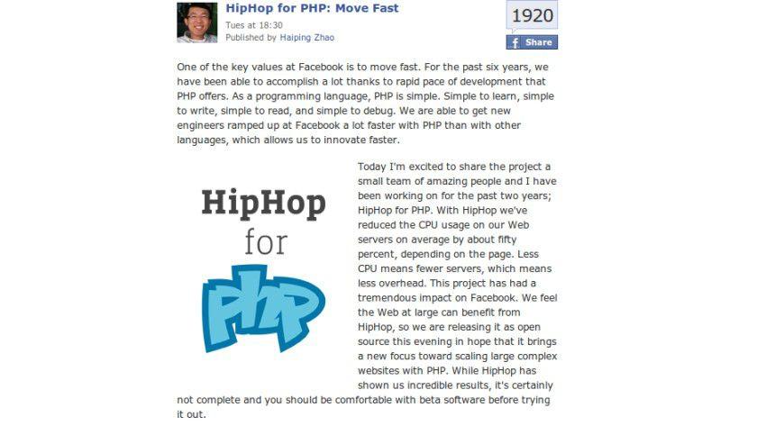 HipHop für PHP: Soll CPU und Speicher deutlich entlasten.