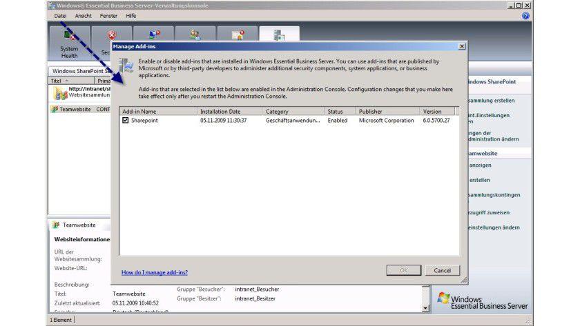 Abschaltbar: Verwalten und Deaktivieren von Add-ins in der EBS-Konsole.