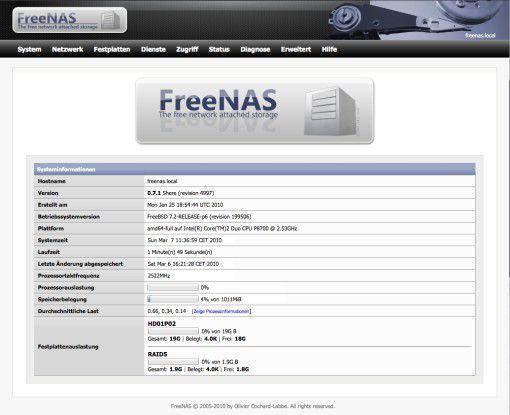 FreeNAS: ein kostenloser Open-Source-NAS-Server.