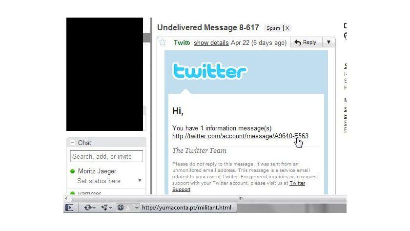 Phishing-Angriff: Die besprochene Funktion bietet Twitter nicht, der Link führt zu einer betrügerischen Website.