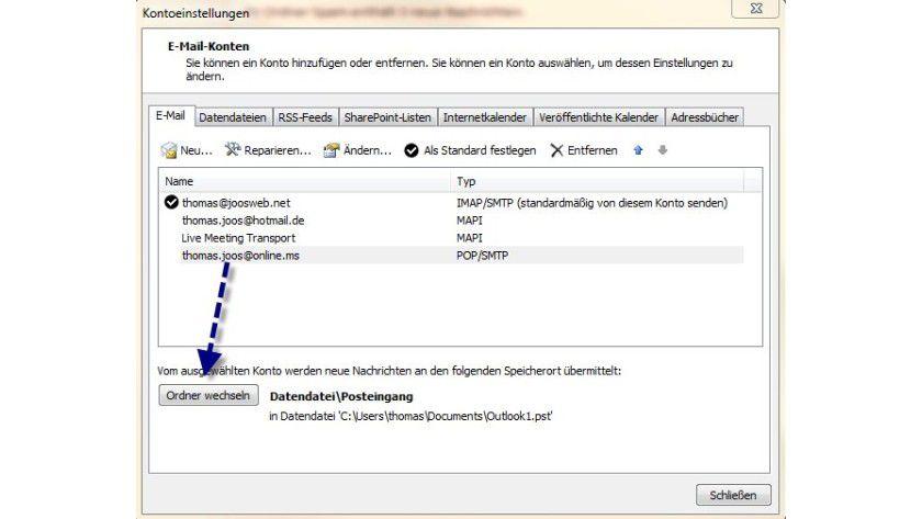 Ablage: Speicherort für eine Datendatei bei POP3-Konten anpassen.