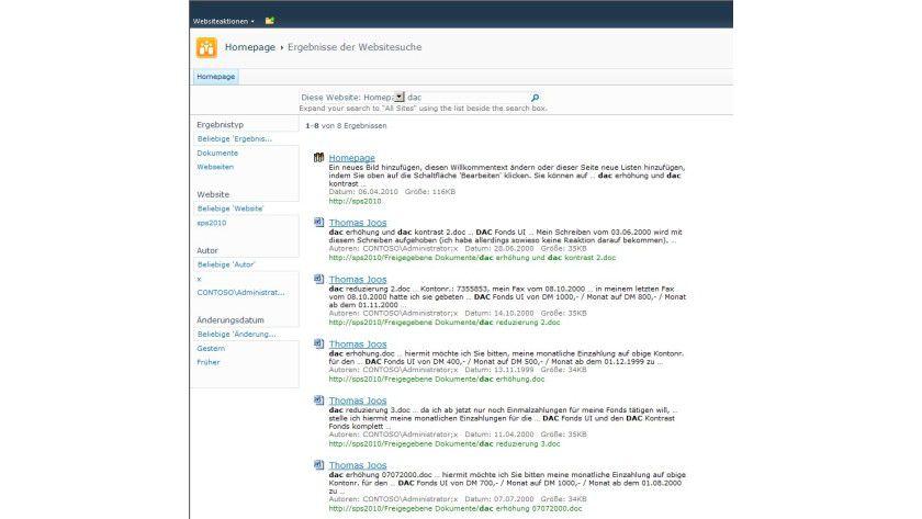 Gesucht, gefunden: Die verbesserte Suche erleichtert das Finden von gespeicherten Dokumenten in den Webseiten.