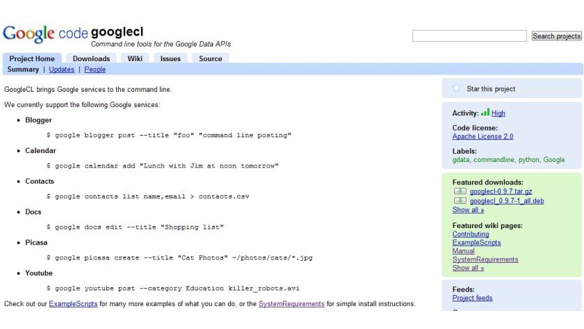 Komanndozeilenfreundlich: Mittels GoogleCL kann man Google-Dienste in Skripte oder Befehle einbinden.