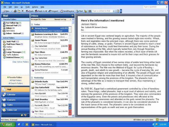 Die dreispaltige Ansicht in Outlook 11 ermöglicht eine Vorschau in voller Bildschirmhöhe - hätte man darauf nicht früher kommen können?