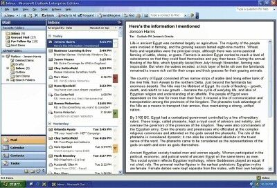 Office Outlook 2003 nutzt den Bildschirm deutlich effektiver als seine Vorgänger.