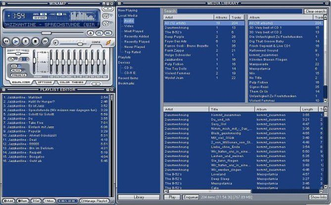 Winamp 5 mit Equalizer, Playlist und Media Library.
