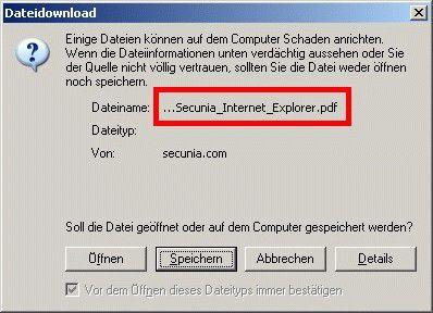 """Dem Internet Explorer lässt sich eine manipulierte HTML-Datei als PDF unterschieben. Wer in diesem Fall auf """"Öffnen"""" klickt, riskiert die Freisetzung von Schadroutinen."""