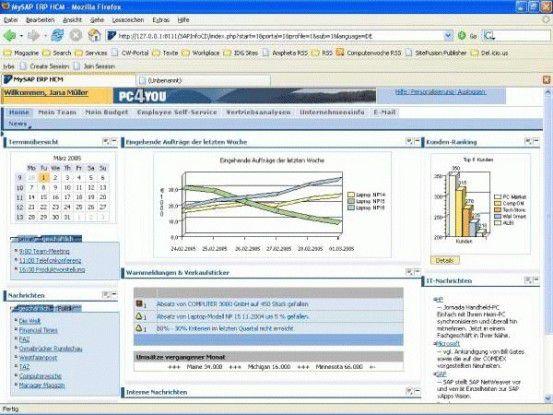 Screenshot: Mysap ERP Manager Selfservice