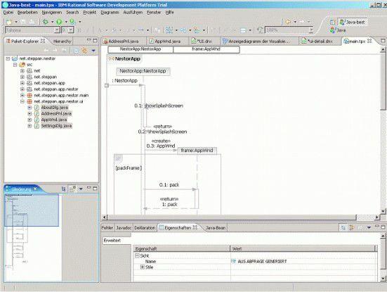 Der UML-Editor des Rational Application Developer erzeugt Sequenzdiagramme automatisch und verfügt über einen Diagrammnavigator.