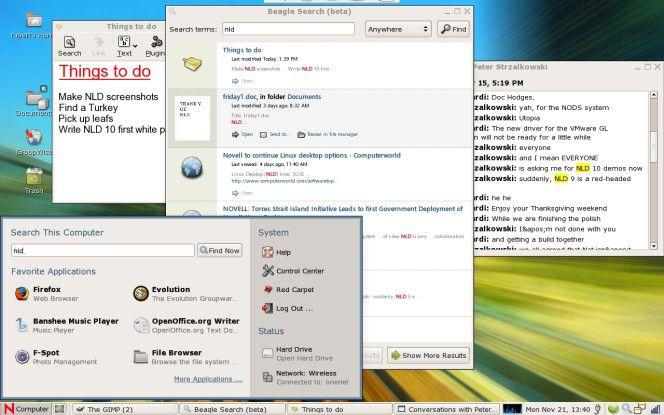 """Die Desktop-Suche """"Beagle"""" ist in den neuen Suse-Desktop integriert."""