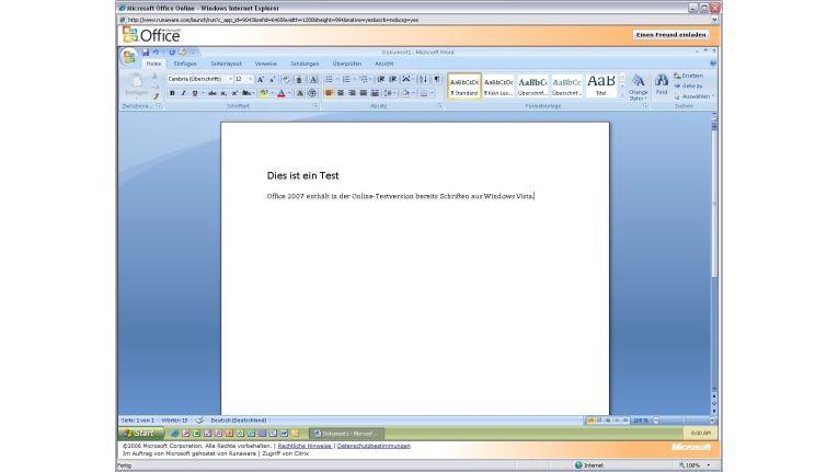 Zum Glück kann man Office 2007 auch online ausprobieren. Oder eine DVD ordern.