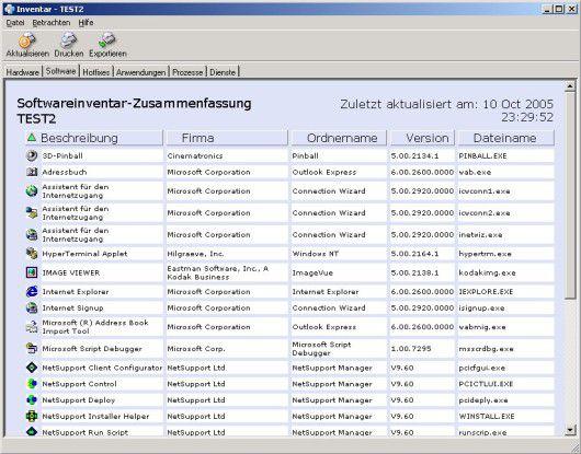 Über die Remote-Verbindung kann der Operator bequem eine Liste der installierten Hard- und Software einsehen. Foto: Netsupport