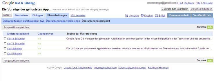 Google Text & Tabellen speichert sämtliche Dokumentversionen aller Bearbeiter.