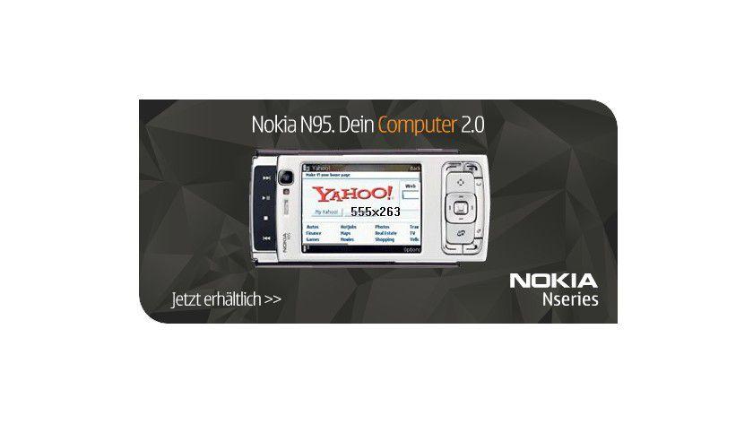 Moderne Handys werden immer mehr zum Computer, wie Nokia mit seiner Werbung für das Modell N95 propagiert. Damit steigt die Anfälligkeit für Viren und anderes digitales Ungeziefer. (Quelle: Nokia)