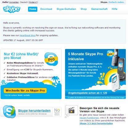 Mittlerweile räumt Skype auch auf seiner Homepage Log-in-Probleme ein.