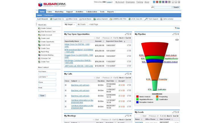 Sugar CRM 5.0 erhielt eine Ajax-Oberfläche, die mehr Flexibilität sowie die Dynamic einer Windows-Anwendung bieten soll.