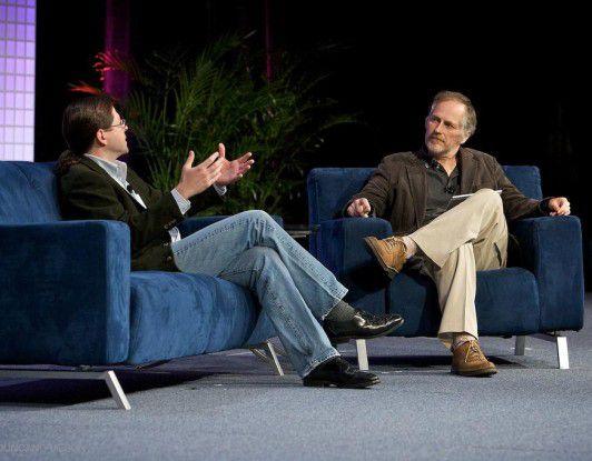 Verleger Tim O'Reilly im Gespräch mit dem CEO von Sun Microsystems, Jonathan Schwartz. (Quelle: James Duncan Davidson)