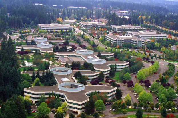 Der Microsoft-Campus in Redmond aus der Vogelperspektive