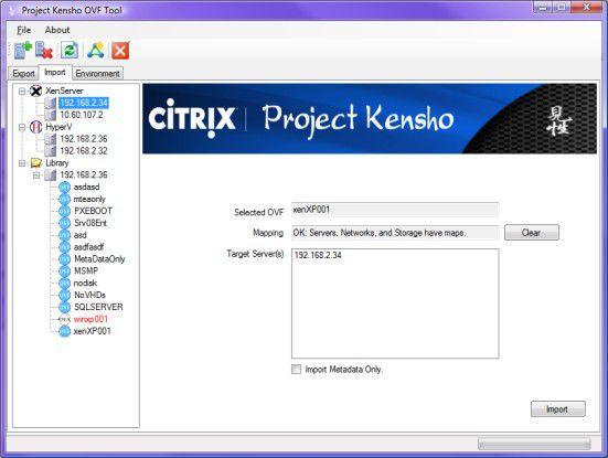 Kensho erlaubt die Konvertierung zwischen den Formaten VHD und OVF.