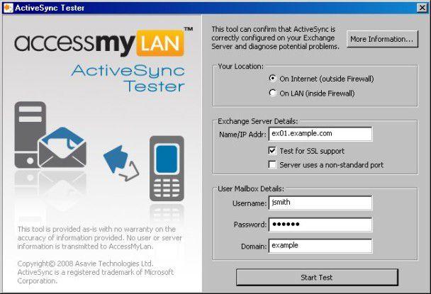 Der ActiveSync-Tester simuliert einen ActiveSync-Client.