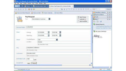 Durch Alloy können Unternehmen den Workflow für der Berarbeitung von Reiseanträgen in Lotus Notes abbilden.