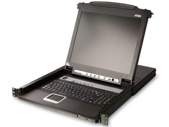 Der 1HE hohe und mit Display, Tastatur, Touchpad und - optional - Fingerabdruckscanner ausgestattete KVMP-Switch ATEN CL5716 kann bis zu 16 Server verwalten.