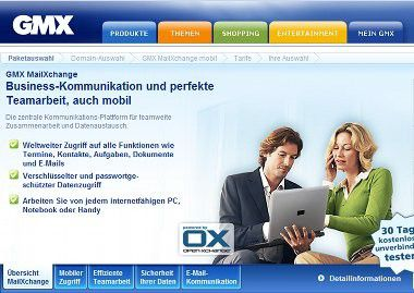 MailXchange: GMX bietet eine Push-Mail-Alternative zu Microsoft Exchange an.