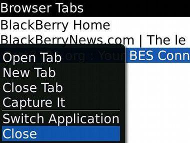 Der Browser von Blackberry OS 5.0 unterstützt Tabs.