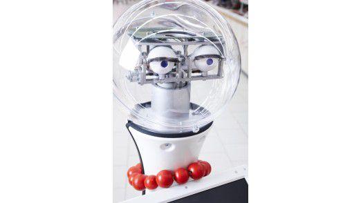 Zwei Innovationslotsen klären Kunden über die neuen Technologien im Store auf. Zwei Kameras halten den Roboter auf Kurs.