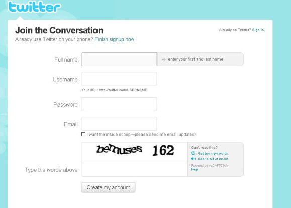 """Dieser Bildschirm grüßt zu Beginn eines """"Twitterlebens"""". Beim Ausfüllen der Felder sind einige wichtige Punkte zu beachten."""