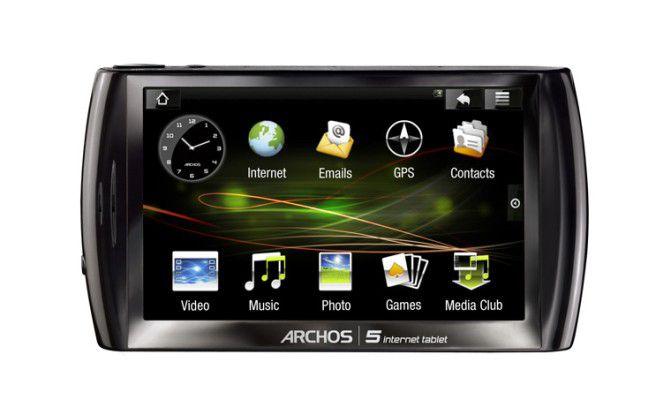 Das Internet-Tablet Archos 5 hat einen 4,8 Zoll messenden Touchscreen.