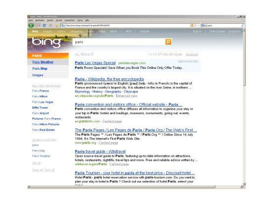 Passend zum Suchbegriff bietet Bing weiterführende Resultate aus Kategorien wie Bilder, Maps, Shopping oder Wetter.
