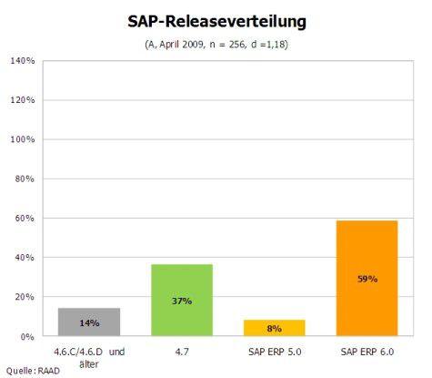 Knapp 60 Prozent der befragten Unternehmen setzen bereits SAP ERP in Version 6.0 ein.