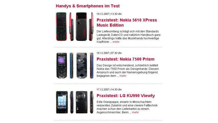 """Im Bereich """"Handys & Smartphones im Test"""" finden Sie praxisrelevante Informationen über die Alltagstauglichkeit der getesteten Geräte."""