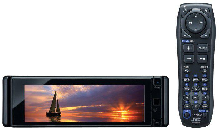 Das 750 Euro teure JVC KD-AVX77 spielt mit einem speziellen Kabel auch Filme vom iPod oder iPhone, Fernbedienung inklusive.