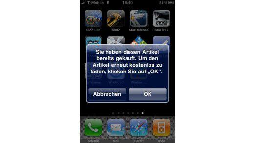 Bereits gekaufte Apps werden kostenlos geladen.