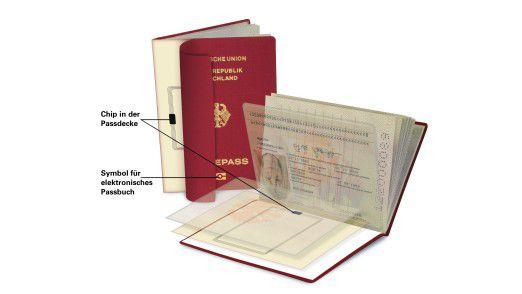 Auf dem Chip des E-Passes werden zunächst nur personenbezogene Daten, ab 2007 aber auch Fingerabdrücke gespeichert (Quelle: Bundesdruckerei)