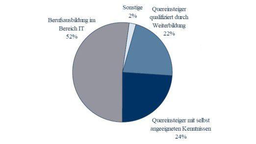 Beruflicher Hintergrund der IT-Sicherheitsfachkräfte im Mittelstand.