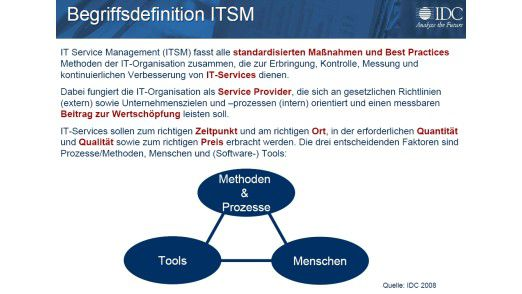 Die Definition von IT Service Management nach IDC.