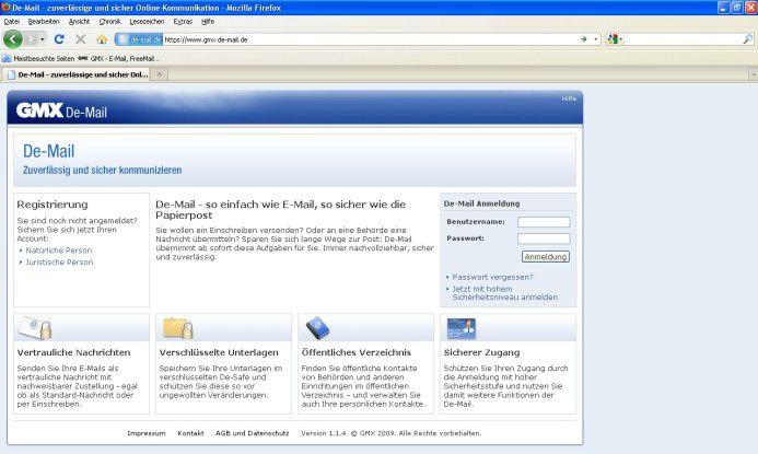 Die De-Mail-Startseite von GMX (United Internet).