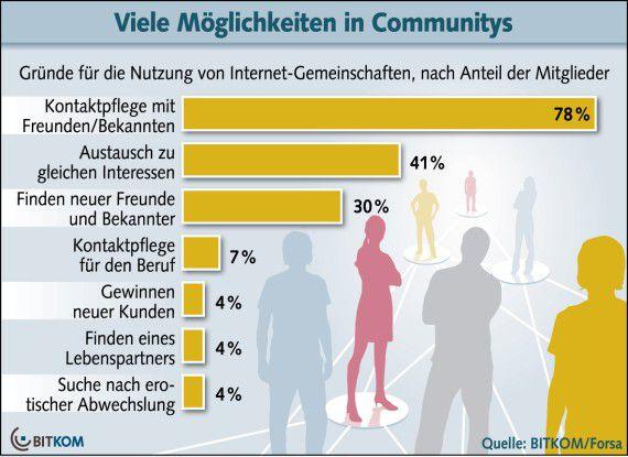 Die meisten verbandeln sich in sozialen Online-Netzwerken aus privaten Gründen.