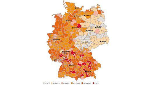 Wachstum der hochqualifizierten Beschäftigung in deutschen Kreisen (1994-2007).